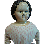 27 In. Antique Greiner Labeled 1840-1860's Papier Mache Shoulder Head, Painted Eyes, Molded Hair, No Repaint or Repair