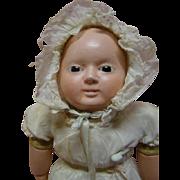 14 In. Original Papier-Mache Sonneberg Taufling Motschmann Baby in Extraordinary Condition with Working Cryer