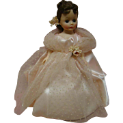 MIB Cissette Bridesmaid in Pink Gown, Long Tulle Cape, High Heels, Hard Plastic, 1950's; Estate Doll