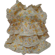 Sassy Tiered Floral Print Cotton Frock for a Patsy Ann or Other Composition Chunky Doll 1930's