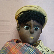 15 In. Early 1830-1840's 100% Original Black Cloth Doll with Pupil-less Black Glass Eyes, Detailed Needle-sculptured Body.