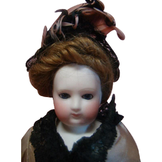 """13-1/2 In. Early Marked """"B 2 S"""" Blampoix (Senior) French Fashion (1855-1870), Kid Body, Wood Upper and Lower Bisque Arms and Hands"""