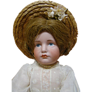 13-1/2 Inch German Character Pouty Gretchen, Mold #114 by Kammer & Reinhardt, Beautiful Blue Eyes, Antique Clothes