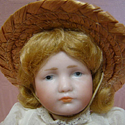 8-1/2 Inch 100% Original Kammer & Reinhardt (K*R) Mold #114 Gretchen, Fully Jointed Composition Body, Very Pouty, Blue Eyes, Strawberry Blond Mohair Wig