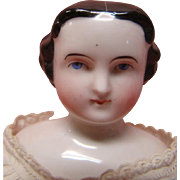 12-1/2 In. 1860's China Shoulder Head Doll with Center Part, Side Curls and Vertical Back Curls