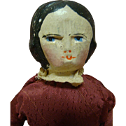 12 In. Original German Wooden Shoulder Head Doll with Cloth Body, Carved Black Hair and Painted Features, Circa:  1880's