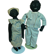 14 and 16 In. Pair of Original Primitive Black Cloth Folk Art Dolls, Needle Sculpted Features, Wool Kinky Hair, Inset Teeth