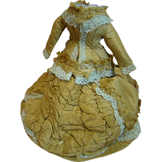 BREATHTAKING Very Old Golden Silk French Fashion Two-Piece Ensemble for an 18-20 In. Poupee, 13 In. Flowing Train, Fully Lined, Overcast Stitching