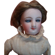 Rare Size 9-1/2 Inch Smiling Bru French Fashion Dressed in Homemade Antique Clothing, Original Hand Tied Wig