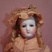 Unmarked (Possibly Barrois) 15 in. French Poupee Fashion, Swivel Neck, Kid Body, Original Hand-Tied Wig