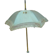 Lovely Blue Silk Doll Parasol, Unusual Faux Ivory Dice with Blue Dots Decorative Handle,  Bebes will Love it!