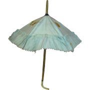 Authentic Original Antique Blue Silk Doll Parasol