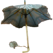 Authentic Original Antique Blue Silk Doll Parasol with Tassels and Faux Ivory Handle