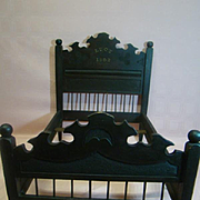 Wooden Doll Poster Bed Dated 1902, 25 In. Long, for a French Fashion or Child Doll