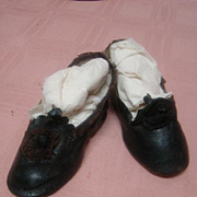 Antique Black Shoes, Size 10, Early Style
