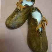 Pair of Early Leather Doll Shoes with Tie Fronts