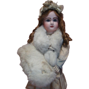 Beautiful Fur and Silk Muff and Fur Collar for Large Doll