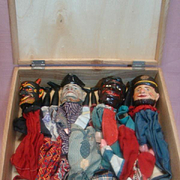 Seven Rare Original Handcarved and Handpainted  Wooden Punch and Judy Hand Puppets, Made in Black Forest Germany, Mid-Late 1800's,