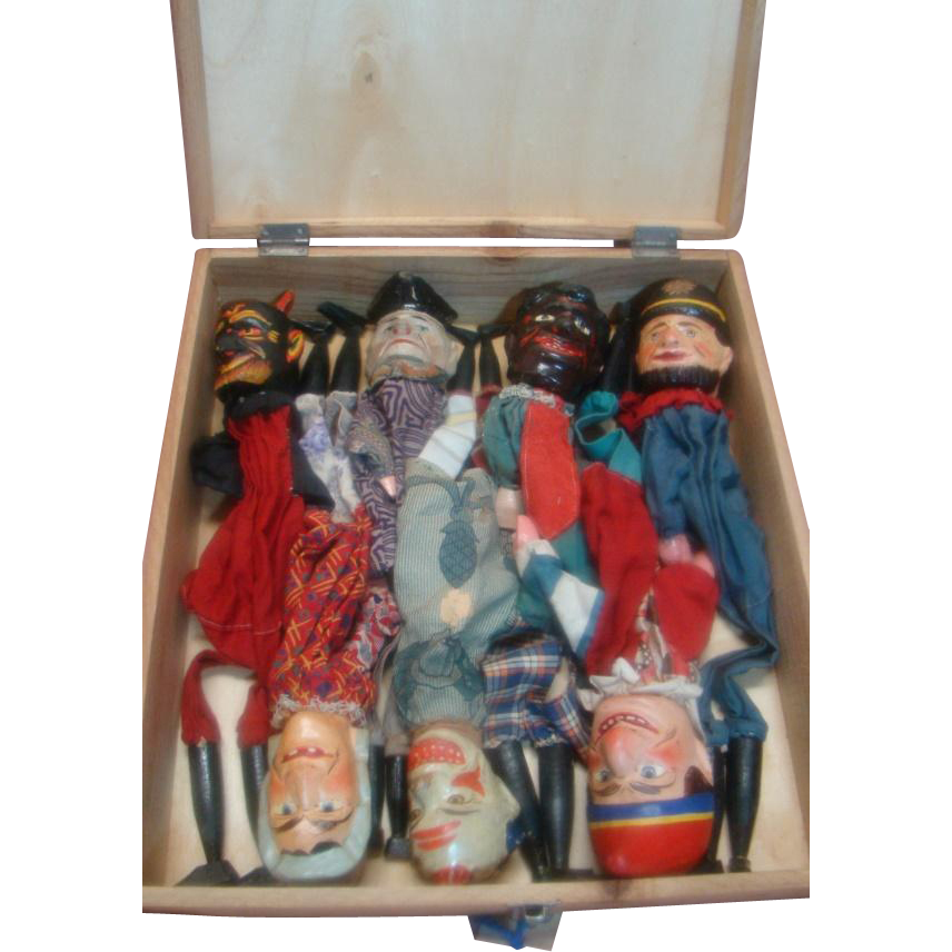 Seven Rare Original Handcarved And Handpainted Wooden