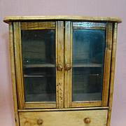 China Cabinet, Linen Closet or Accessory Display Cabinet for French Fashion or Other Antique Doll, Cir. 1870's
