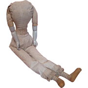 31 Inch Antique Cloth Body with Porcelain Arms and Hands, Perfect for Large China Shoulder Head or Paper Mache