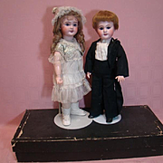 Pair of 18 In. French Bebe Jumeau Dolls, Dressed 100% Originally as Bride and Broom, SFBJ 301 and DEP, in Excellent Condition in Wooden Box