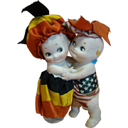 Rose O'Neill 3-1/2 In. Kewpie Huggers with Flag Colors of Germany and the United States of America
