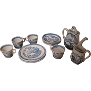 15 Pc Set of Child's Antique Staffordshire Blue Transferware from the Water Hen Series, Made in England, 1885-1888, Very Hard to Find
