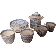 13 Piece Set of Scarce Child's Blue Transferware or Staffordshire by Charles Allerton & Sons from England, Circa:  1880's,