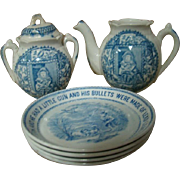 Pieces to Two Sets of Scarce Child's Blue Transferware, One from the Nursery Rhymes Series by Whittaker & Co., Staffordshire England Cir: 1885-1888