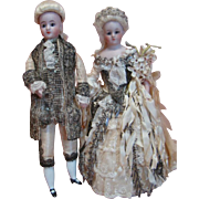 100% Original Wedding Cake Toppers in Gorgeous Attire Using Simon Halbig Mold #1160, Closed Mouths, Glass Eyes, Mohair Wigs