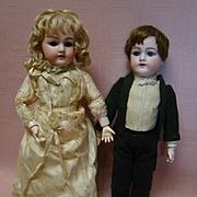 "14 In. 100% ""Attic"" Original German Heinrich Handwerck Bride and Groom Pair, Harder to Find Mold #79, Pierced Ears, Never Undressed"