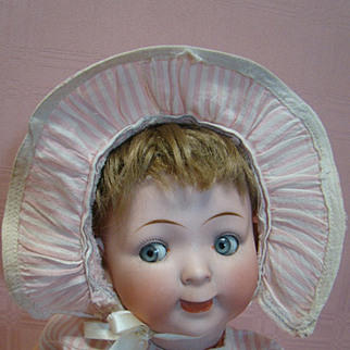 Lovable, Original 15 In. Hertel, Schwab & Co. Googly Mold #165, Lots of Character, Open/Closed Mouth, Pale Blue Glass Sleep Eyes