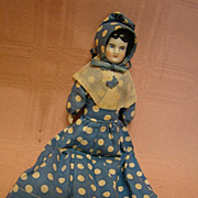 Original 7 Inch Antique German Black Hair China Shoulder Head Doll in Original Clothes and Bonnet