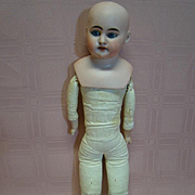 16 In. Bisque Shoulder Head on Nice Gusseted Leather Body for Dressing, Open Mouth with 6 Teeth, Unusual Marking, Pretty Face!