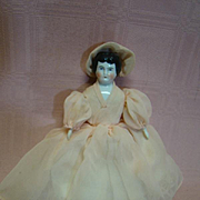 6-1/2 In. Black Hair China Shoulder Head Lady, Original Cloth Body, Bisque Arms and Legs, China Brown Boots