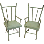 Cute Pair of 1880-90's Pair of Spindle Back Off-white Chairs for Dolls 14-16 In. Tall with Original Paint; Sturdy and Well-made