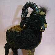13 In. Unusual and Original Fur Covered Goat with Glass Eyes for Doll Accessory