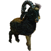13 In. Unusual and Original Fur Covered Ram with Glass Eyes for Doll Accessory