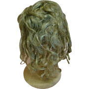Original Antique Mohair Kestner Wig in Dark Ash Blond, Original Set with Waves and Curls, Circumference 13-1/2 In.
