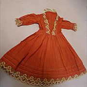 Red with Ecru Trim Antique Cotton Dress, Excellent Condition, Great for Christmas!