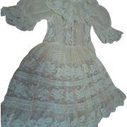 Exquisite Antique Cotton Lace Dress with Intricate Detail for That Special Doll