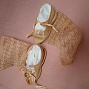 Beautiful Antique Pink Silk Doll Shoes and Pink Socks, Size 9