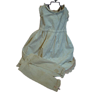 Antique Full Slip with Tucks and Lace for 32-35 Inch Doll, Plus Antique Pair of Split Crotch Pantaloons with Lace Trim