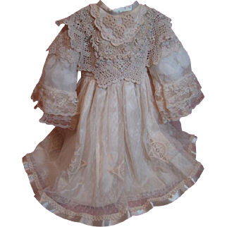 Ecru Satin and Lace Dress for a 25-27 In. Antique French or German Doll; Flattering Style with Bell Sleeves, Bretelles and Decorated Bodice