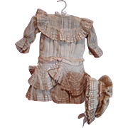 Lovely Ecru Antique Dress and Bonnet for Your 22-24 In. French Bebe