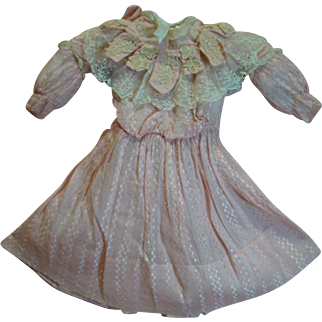 Pink Antique Silk Dress with Lace Trim for a 21-22 In. Antique German Doll Such as a K*R, Kestner or Simon Halbig