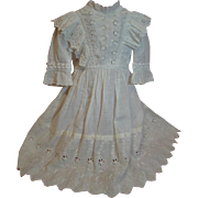 Antique White Cotton Dress for Large Antique German Doll 25-27 Inches; Embroidered Cotton Trim, Eyelet and Other; Bretelles