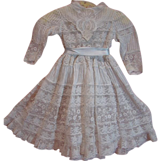 Antique Delicate White Dress with Tucks and Lace, for a 21-22 In. Doll