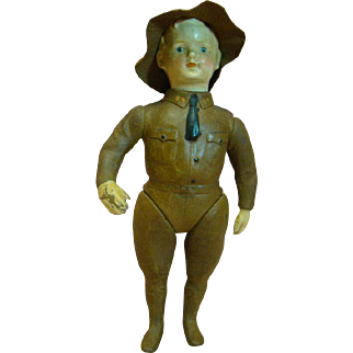"12 Inch Ideal ""Liberty Boy, "" Cir: 1917 Only, Molded Clothes, Rare Original Felt Hat, Very Little Wear, Superb Example of WWI Doughboy Doll"